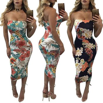 Multi Color Floral Pattern Printed Dress Sexy Women Off Shoulder Strapless Bodycon Dress Hot Ladies Club Wear Sheath Midi Dress