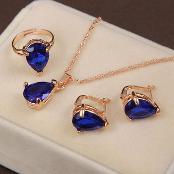 Fashion Gold Plated Jewelry Set Clover Style Necklace & Earring&Ring  For Wedding Accessories royal blue Jewelry Set