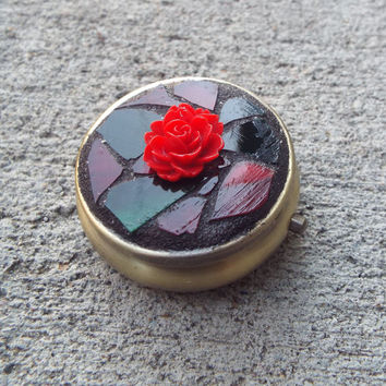 Christmas Box, Red Rose Pill Box, Mosaic Pill Box, Push Button Pill Box, Small Round Jewelry Box, Wedding Ring Box