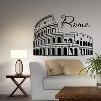 Rome Coliseum Wall Decal Vinyl Sticker Italy Skyline Silhouette Interior Wall Decals Murals Office Living Room Bedroom Home Decor C034