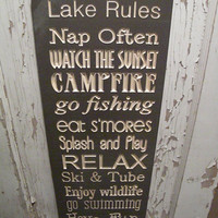 Custom Engraved Primitive Rustic Cabin or Lake  Rules Sign Typography  subway sign