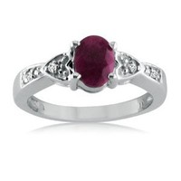 Sterling Silver Ruby and Diamond Ring ( 1cttw Sizes 5-9) SZ5