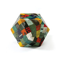 Go Home Tin Patchwork Rubix Stool - 17066