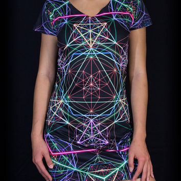 HYPERGEOMETRY Dress by Sam Farrand / Bold All Over Sublimation Art Clothing / Festival Clothing / Rave Dress / Visionary Art