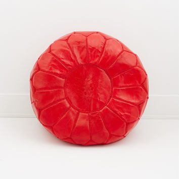 Moroccan Leather Pouf, Fire Engine Red
