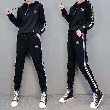 """Adidas"" Women Casual Stripe Hooded Long Sleeve Sweater Trousers Set Two-Piece Sportswear"