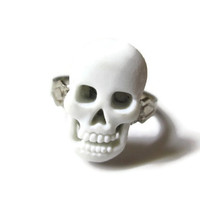 White Skull Ring, Acrylic, Silver Toned Metal Ring Base, Adjustable