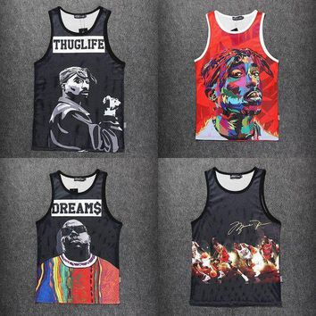 PEAPUG7 Fashion men Tupac/2Pac/Biggie Smalls/hba Jordan Tank Tops Casual 3d sleeveless hip ho