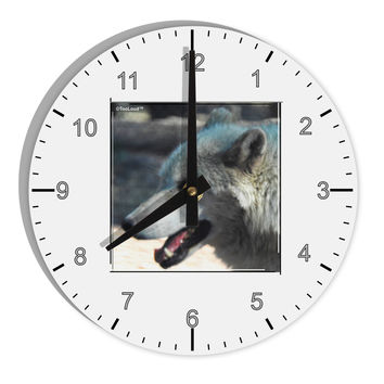 "TooLoud White Wolf Face 8"" Round Wall Clock with Numbers"