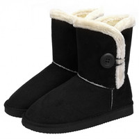 Women Winter Faux Fur Suede EVA Button Closure Warm Short Snow Boots