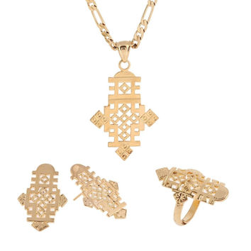 Ethiopian Cross Pendant Earring Ring Necklace Set 24k African Gold Corss Symb...