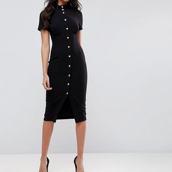 ASOS Corset Midi Dress with High Neck & Popper Details at asos.com