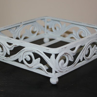 Shabby light blue iron napkin holder