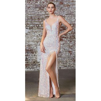 Fitted 3D Iridescent Sequin Gown Opal Blush Illusion Cut Outs Open Back