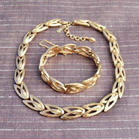 Vintage Monet, Gold Tone, Choker Necklace and Bracelet, Womens Estate Jewelry Demi Parure Set, Wife Girlfriend Mom Sister Daughter Gift