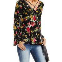 Gauzy Floral Print Caged Bell Sleeve Top
