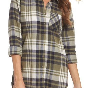 Make + Model Plaid Cotton Blend Nightshirt | Nordstrom