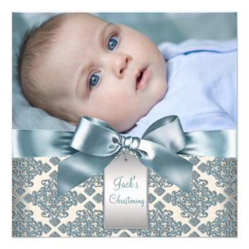 Beige Blue Damask Baby Boy Photo Christening 5.25x5.25 Square Paper Invitation Card