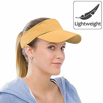 Sun Visor Sports Cotton Twill Plain Hat with Adjustable Strap for Men Women Outdoor Golf Tennis Running Jogging Hiking