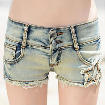 Sexy mini ripped jean shorts for women summer stylish washed distressted shorts ladies sexy light blue bodycon denim shorts