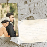 "50 Wedding Thank You Cards - BelleVille II Vintage Photo Personalized 4""x6"""
