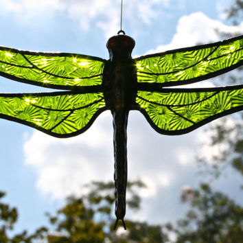 Stained Glass DRAGONFLY Suncatcher,  Lime / Spring Green Wings, Textured, Handcast Metal Body, USA Handmade