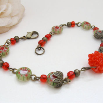 Millefiori bracelet with green and red flower glass beads
