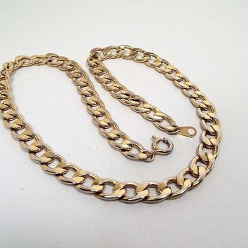 18 Inch 18in Vintage Chain Necklace, Retro 1980s 80s, Made in Korea, Gold Tone Wide Flat Oval Curb, Unisex Jewelry