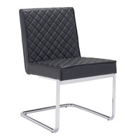 Quilt Armless Dining Chair Black Leatherette / Chromed Steel Base