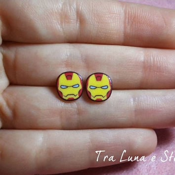 Earrings Ironman, Tony Stark, superhero Avengers Marvel comics - cute kawaii