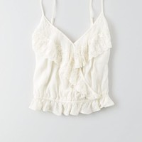 AEO Women's Embroidered Wrap Cami (Cream)