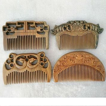 1 PC Handmade green sandalwood Anti-alopecia wood comb Natural Head Massage hair brush hair care flower style free shipping