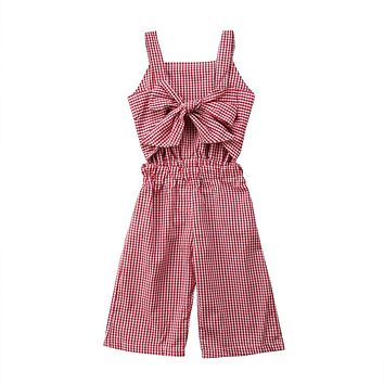 Newborn Kids Baby Girls Plaid Romper Trousers Jumpsuit Clothes Outfits Summer