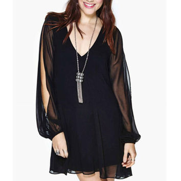 Black Loose Sexy Charming Long Sleeve Dress Gift 28 Free Shipping