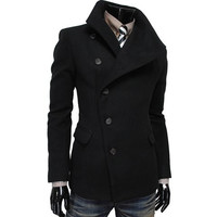 Turn-down Collar Side Button Double Pocket Woolen Coat
