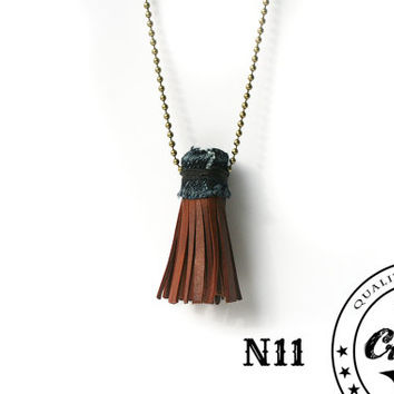 Handmade Leather Tassel Necklace on Beaded Chain Denim Wrapped, Leather Denim Necklace, Womens Fringed Leather Pendant, Unique Gift for Mom