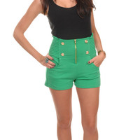 Military High-Waist Cropped Shorts - Large / Green