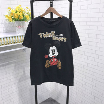 New 2017 Women T shirts Fashion T-shirt O-neck Sequined Letter Animal Character Print Female Plus Size Tops Woman t shirt 72529
