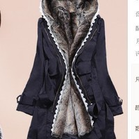 Thickened two-piece new Korean Women Slim warm wool coat