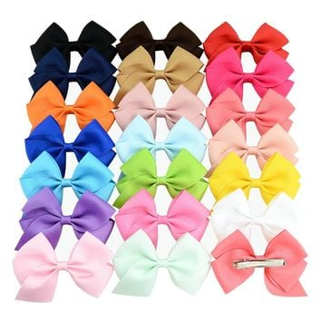 "20 Pcs/Lot Grosgrain 4"" Alligator Flower Hair Bow Clips for Baby Girl Toddlers Kids Infant Children Handmade Barrettes Hair Accessories"