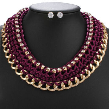 Purple and Gold Rhinestoned Rope Necklace and Earrings