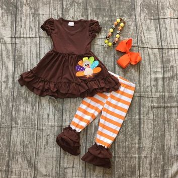 autumn thanksgiving Fall/Winter baby girls brown short top turkey outfits stripe pant clothes ruffle boutique match accessories