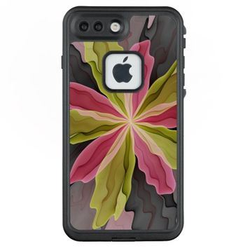 Joy, Pink Green Anthracite Fantasy Flower Fractal LifeProof® FRĒ® iPhone 7 Plus Case