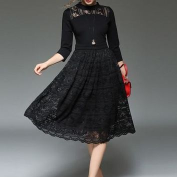 Solid Color 3/4 Sleeve Patchwork Women's Lace Dress