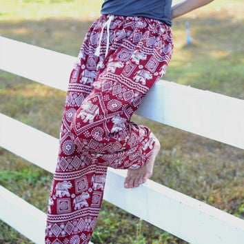 Elephants Printed Harem pants/ Elastic Waist/Meditation pant/elephant thai pants/boho pants/gypsy pants/Aladdin Pants/Comfortable Wear