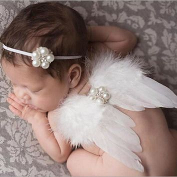 4colors Newborn Photography Props Infant  Angel Feather Wings  Costume Set
