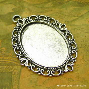 10 pcs Cameo Settings Antique Silver Cameo Base Pendant Trays 25x18mm ch0199