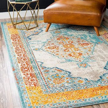 9335 Blue Vintage Distressed Oriental Area Rugs