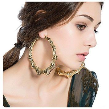 Culovity Large Bamboo Hoop Earring Hollow Casting HipHop Statement Jewelry for Women Goldtone Silvertone