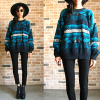80s cosby sweater - leather triangles & patterned stripes - grandpa pullover sweater Medium oversized Small S M